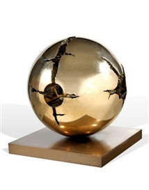 Artwork by Arnaldo Pomodoro, SFERA, Made of Sculpture in bronze with golden patina