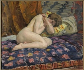 Artwork by Henri Lebasque, NU ACCROUPI SUR UN DIVAN, Made of Oil on canvas