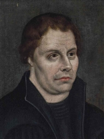 Artwork by Lucas Cranach the Elder, Portrait of Martin Luther (1483-1564), half-length, in black, Made of oil on panel