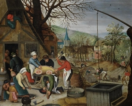 Artwork by Pieter Brueghel the Younger, An Allegory of Autumn, Made of oil on copper