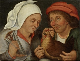 Artwork by Pieter Brueghel the Younger, Two peasants with a hen and a spindle, Made of oil on panel