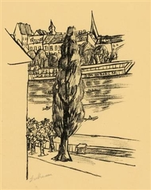 Artwork by Max Beckmann, FLUSSLANDSCHAFT, Made of Lithograph on yellowish Japan laid paper