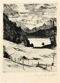 Artwork by Lovis Corinth, DER WALCHENSEE (AUS: AM WALCHENSEE), Made of Drypoint on van Gelder Zonen-wove paper