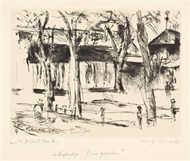 Artwork by Lovis Corinth, BAHNHOF TIERGARTEN, Made of Drypoint on laid paper