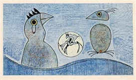 Artwork by Max Ernst, DEUX OISEAUX, Made of Colour lithograph on Japan paper