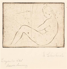 Artwork by Wilhelm Lehmbruck, RUHENDES MÄDCHEN (MEERESSTIMMUNG), Made of Etching on wove paper