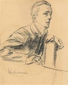 Artwork by Max Liebermann, KURT RIEZLER (SCHWIEGERSOHN DES KÜNSTLERS)?, Made of Crayon on paper