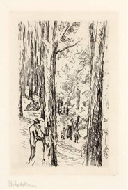 Artwork by Max Liebermann, FRÜHLING IM GRUNEWALD, Made of Etching on wove paper