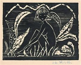Artwork by Otto Mueller, MÄDCHEN ZWISCHEN BLATTPFLANZEN, Made of Woodcut on Japan paper
