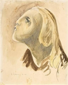 Artwork by Heinrich Nauen, KOPFSTUDIE ZU MARIA, Made of Gouache and pencil on paper