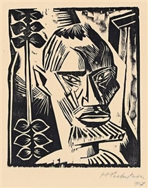Artwork by Max Pechstein, EIBEDUL (AUS: KÖPFE), Made of Woodcut on buff wove paper