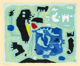 Artwork by Willi Baumeister, GRÜN - KOMPOSITION IN GRÜN, Made of Colour silkscreen on wove paper