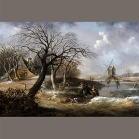 Artwork by Julius Caesar Ibbetson, Winter Scene with Skaters, Made of Oil on panel