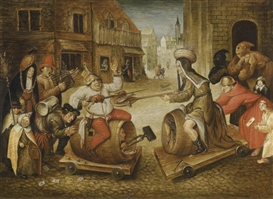 Artwork by Pieter Brueghel the Younger, THE BATTLE BETWEEN CARNIVAL AND LENT, Made of oil on panel