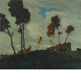 Artwork by Jonas Lie, Autumn Sunset, Made of Oil on canvas