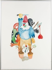 Artwork by Fabien Verschaere, CRYING CLOWN, Made of Watercolor on vellum paper
