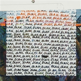 Artwork by Mel Bochner, 2 Works: Blah Blah Blah; Background Noise, Made of screeprint in colours