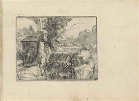 Artwork by Hendrick Goltzius, Landscape with a Waterfall (not in Nagler, Bartsch or Hollstein), Made of etching