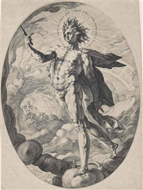 Artwork by Hendrick Goltzius, Apollo (B. 141; Holl. 131; Strauss 263), Made of engraving