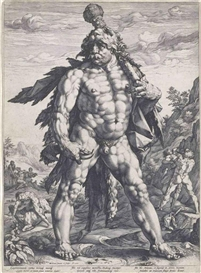 Artwork by Hendrick Goltzius, The Large Hercules (B. 142; Holl. 143; S. 283), Made of engraving