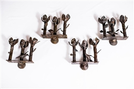 Artwork by Diego Giacometti, Three-branch wall sconces with birds, Made of Bronze