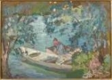 Artwork by Henri Lebasque, La lessive au board de la marne, Made of Oil on cardboard laid down on panel