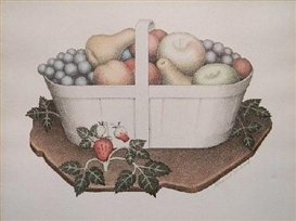 Artwork by Grant Wood, Fruits, Made of lithograph with hand-coloring