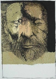 Artwork by Leonard Baskin, Self-Portrait, Made of lithograph in colors