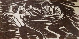 Artwork by Richard Bosman, The Fight, Made of woodcut