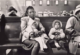 Artwork by Esther Bubley, In the Waiting Room, Greyhound Bus Terminal, New York, Made of gelatin silver print