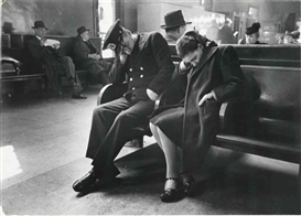 Artwork by Esther Bubley, Sleeping Passengers, Greyhound Bus Terminal, New York City, Made of gelatin silver print