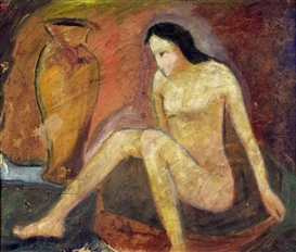 Artwork by Willi Baumeister, Seated nude, Made of Oil tempera on board