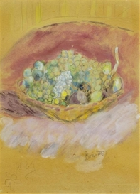 Artwork by Pierre Bonnard, Panier de Fruits, Made of Gouache on paper, laid on canvas