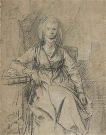 Artwork by Benjamin West, Portrait Study of Mrs Shute Barrington (d. 1807), Made of Black and white chalk on grey prepared paper, squared