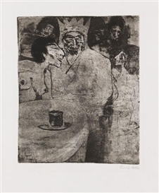 Artwork by Emil Nolde, Salomo und seine Frauen, Made of Etching and aquatint