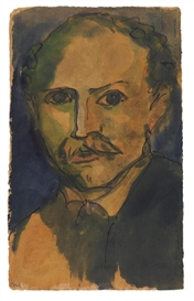 Artwork by Emil Nolde, Selbstporträt, Made of Watercolor and India ink drawing