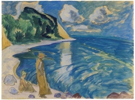 Artwork by Erich Heckel, Frauen am Meer, Made of Watercolor and gouache over pencil