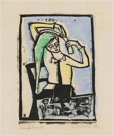 Artwork by Erich Heckel, Vor dem Spiegel, Made of Woodcut, colored