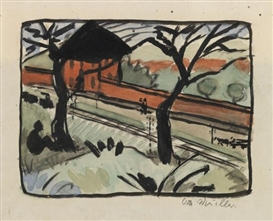 Artwork by Otto Mueller, Dorfstrasse - Bahnhof in Schmiedeberg (Riesengebirge), Made of Watercolor and India in drawing over pencil