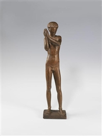 Artwork by Gerhard Marcks, Diskuswerfer, Made of Bronze with brown patina