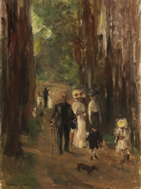 Artwork by Max Liebermann, Aus dem Grunewald, Made of Oil on cardboard