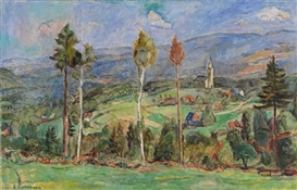 Artwork by Hans Purrmann, Schlesische Landschaft, Made of Oil on canvas