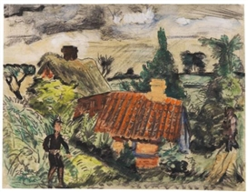 Artwork by Erich Heckel, Bauernhaus, Made of Gouache, India ink and chalk