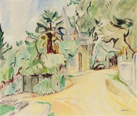 Artwork by Hans Purrmann, Weg in Hendaye, Made of Oil on canvas