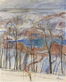 Artwork by Hans Purrmann, Blick auf Agno im Winter, Made of Oil on canvas