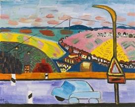 Artwork by Ida Kerkovius, Landschaft bei Stuttgart, Made of Oil on canvas