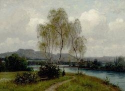 Artwork by Adolf Stäbli, Landscape by the water, Made of Oil on canvas