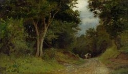 Artwork by Adolf Stäbli, Forest landscape with a wagon in the background, Made of Oil on canvas