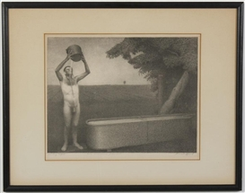 Artwork by Grant Wood, Sultry Night, Made of stone lithograph on paper