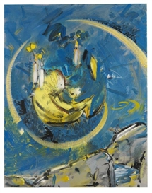 Artwork by Christian Ludwig Attersee, Sonne, Made of Acrylic and lacquer on primed canvas